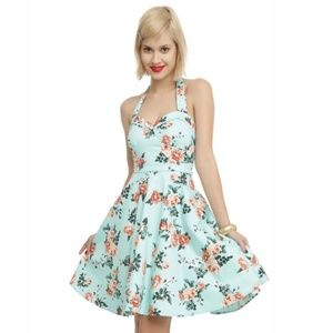 HOT TOPIC Mint Floral Halter Pin Up Tulle …